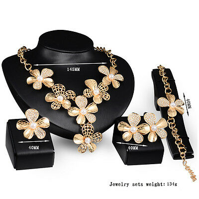 Flower Bridal18KGold Plated Crystal Necklace Bracelet Earrings Ring Jewelry Set
