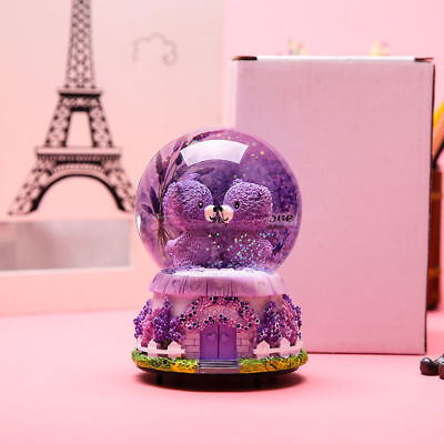 Fairy Lavender Bear LED Snow Globe Musical Box Crystal Ball Chic Birthday Gifts