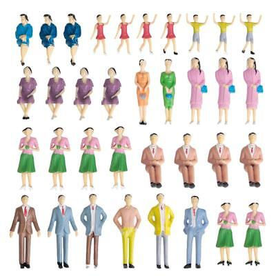 50 Mixed People Passengers Figures Model Train Railway Diorama Layout 1:30 G
