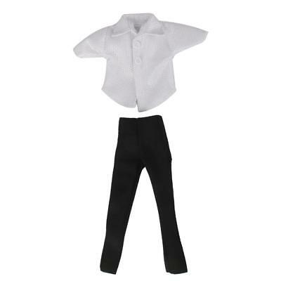 Glittery White T-shirt + Black Pants Suit Clothes Outfit for Ken Doll