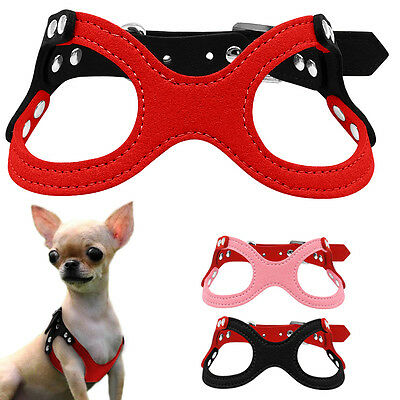 Soft Suede Small Dog Cat Puppy Harness Cute for Chihuahua Yorkie Red Pink Black