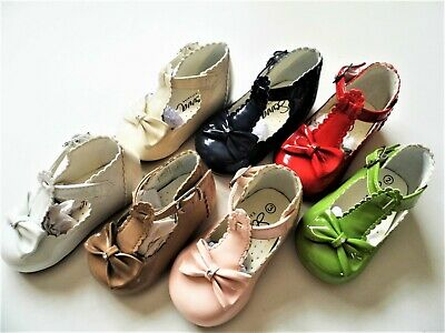 Baby Girl Spanish High Backed Hard Soled Shoes With Buckle , Bow & Gemstone