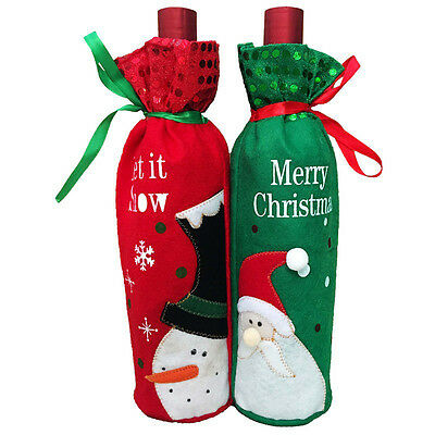 Christmas Decorations Santa Claus Snowman Red Wine Bottle Cover Bags