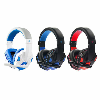 3.5mm PC Gaming Headset With Mic Microphone For PS3 Mac Skype Game White Blue