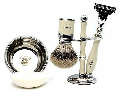 Complete Silver Tip Badger & 3 Edge blade Shaving Set of 5 Luxury Men Grooming