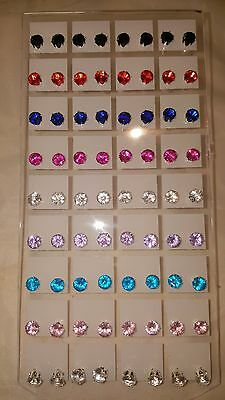 Joblot of 36 Pairs Mixed colour round 6 mm Crystal stud Earrings wholesale