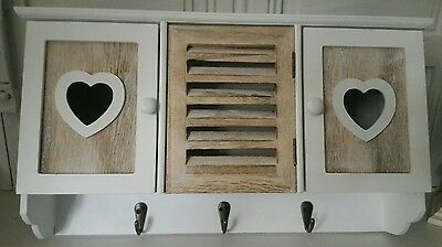 Shabby Chic White  Wooden Heart Wall Unit Storage  With Hooks