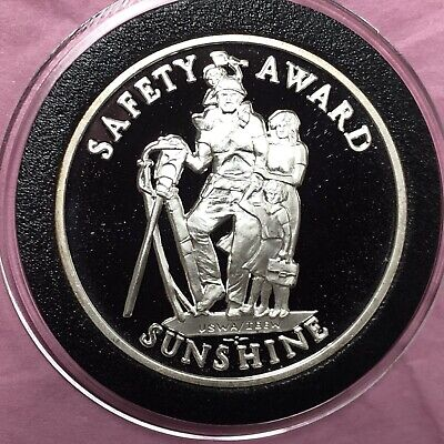 Sunshine Safety Award Proof Collectible Coin 1 Troy Oz .999 Fine Silver Round