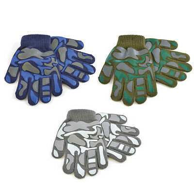 Boys Thermal Magic Camoflague Gripper Gloves Winter Camo Army Design By Rjm