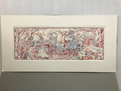 Disney artist MIKE ROYER 28x14 personally signed and drawn art. WINNIE THE POOH