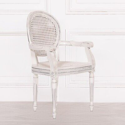 French Chateau Style Louis Chic White Rattan Dining / Bedroom Arm Chair