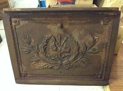 Early Vintage Victorian Ornamental Cast Iron Greek Leaves Fireplace Summer Cover