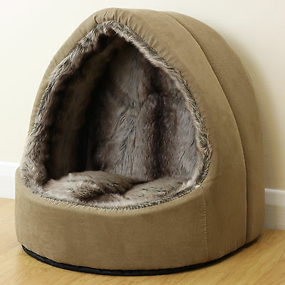 Soft Brown Plush Fur Pet Bed Cat/Kitten Dog/Puppy Igloo Mat Warm/Snug Cave/House