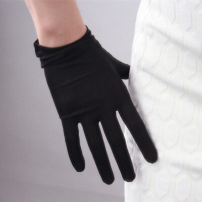 100% Silk Nature Stretchy Satin Gloves Black Tan UV Sun Protect TECH Touchscreen