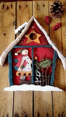 Folk Art House Christmas Scene With Snowman Christmas Tree Hanging Decoration