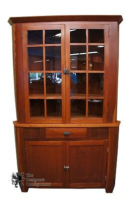 Early American Style Cherry Corner Cabinet Curio Handmade Cupboard Primitive