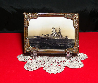 USS Arizona Photo Antique Miniature Brass Picture Frame w/ Stand  Free Shipping