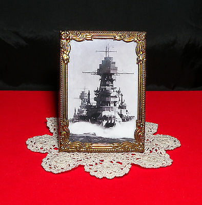 USS Arizona Photo Antique Miniature Metal Picture Frame 24kt Gold Plate Free S/H