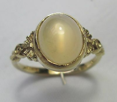 Vintage  375 9ct Gold 1.5ct Cabochon Moonstone Ring Size N Hallmarked