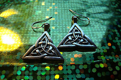 "Celt  Silvered Triquetra Earrings on 925 Silver French Hooks 1"" wide 1.6"" long"