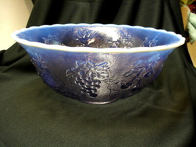 Vintage Westmoreland Lilac Opalescent Three Fruits Punch Bowl