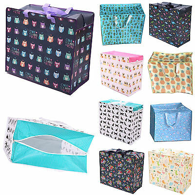 Reusable Storage Shopping Bags Zipped Strong Jumbo Large Laundry Bag Many Design