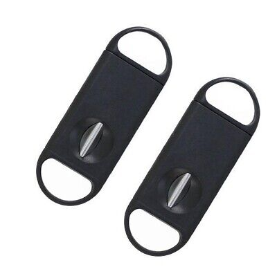 2 Pack V Cut Cigar Cutter Premium Quality Stainless Steel Guillotine Black NEW