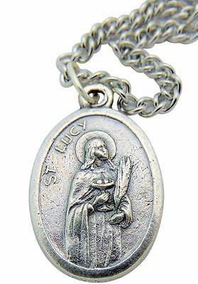 St Lucy Catholic Patron Saint Medal with Stainless Steel Chain from Italy