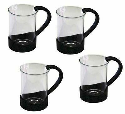 S]et of 4 Tea Coffee Latte Hot Chocolate Glass Cups Mugs Gift Box Kitchen Home