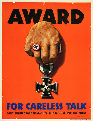 Original Vintage WWII Poster Award for Careless Talk by Dohanos 1944 Nazi