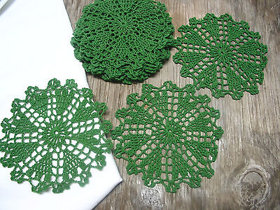 "dozen(12 psc) Hand Crochet Doilies 6""  D.Green  Vintage Lace Party Craft Motifs"