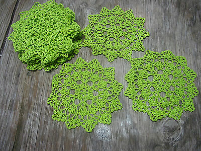 "dozen(12 psc) Hand Crochet Doilies 6"" Green  Vintage Lace Party Craft Motifs"
