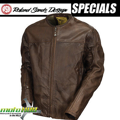 RSD Roland Sands Design Barfly Perforated Leather Jacket Tobacco Motorcycle Bike
