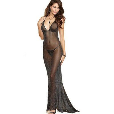 Sexy women Lace Lingerie Fishnet  Shiny Long Dress Babydoll Underwear G-string
