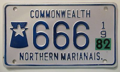 Northern Mariana Islands 1982 MOTORCYCLE License Plate HIGH QUALITY # 666