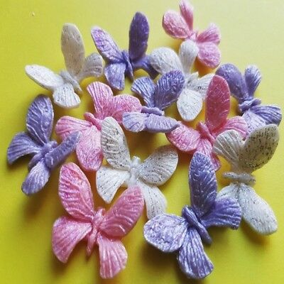 12 Edible sugar butterflies insects glittering cake cupcake toppers decorations