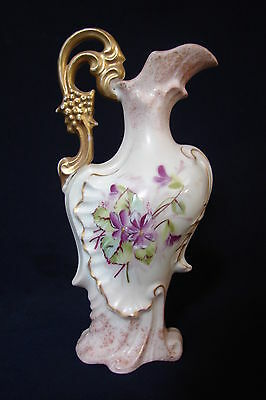 "Antique Victoria Austria Carlsbad EWER / PITCHER with VIOLETS 6.5"" tall"