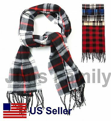 Women Men Unisex Classic Checker Plaid Winter Warm Scarf Scarves Muffler Brushed