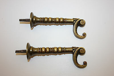 Antique Pair Of Victorian Era Ornate Solid Brass Wall Hooks W/ Patina - Exc!