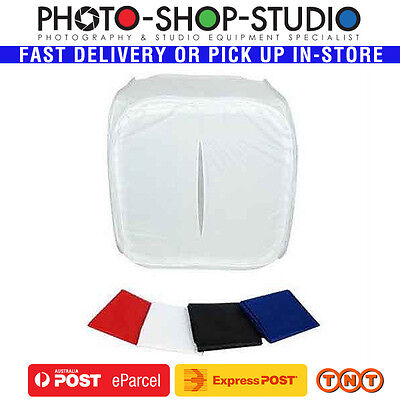 Fotolux 80x80x80 cm Portable Light Tent + 4 colour Backdrops Red White Black Blu