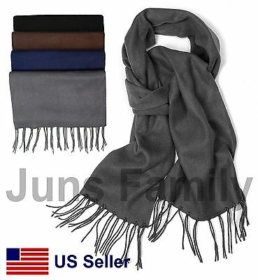 Women Men Unisex Plain Solid Classic Winter Warm Scarf Scarves Muffler Brushed