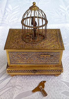 Early German Karl Griesbaum Singing Bird Box Automaton Music Box & Cage Model