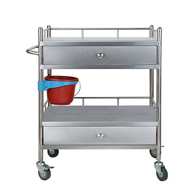 2 Layers 2 Long Main Drawers Portable Serving Medical Dental W78t Cart Trolley