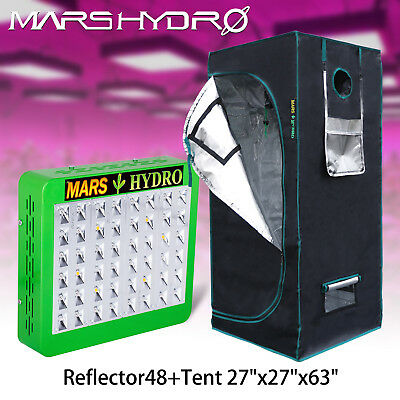 Mars 27''×27''×63'' Indoor Grow Tent Room Box+Reflector 48 LED Grow Light Plant