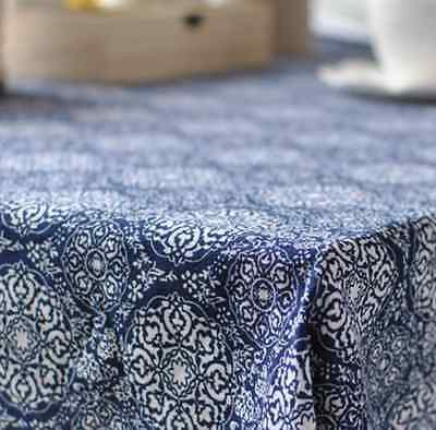 Japanese Blue Floral Home Dinning Coffee Table Cotton Linen Cloth Covering O