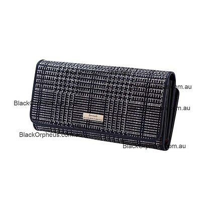 Leather Wallet, Black Silver Colour, Patent Leather, Serenade Wallet