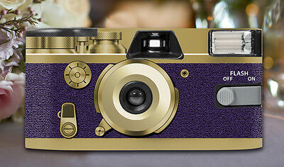 4 x Retro Purple Disposable Wedding Cameras 27exp, flash & matching table cards