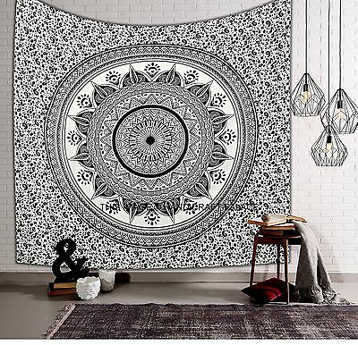 BLACK & WHITE OMBRE MANDALA WALL HANGING TAPESTRY BEDSPREAD Beach Blanket Decor