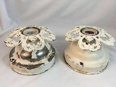 Pair Antique 1920s Art Deco Ceiling Light Fixture Vintage Chandelier Flush Retro