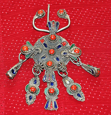 Rare Old Berber Tribal Fibula Fibule, Silver, Enamel Morocco Clothing Attachment